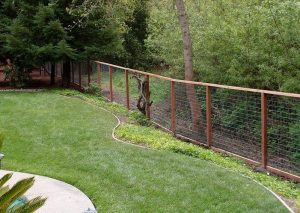 garden protected by deer fence barrier